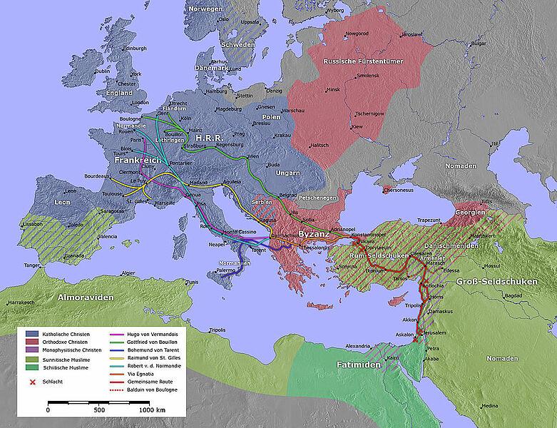 Erster Kreuzzug Karte