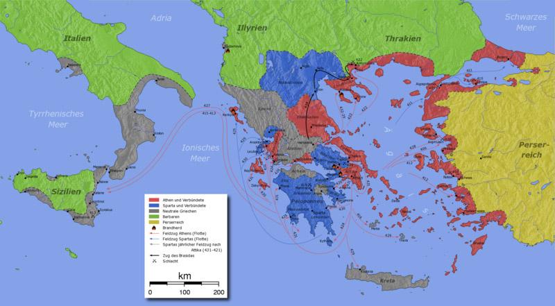 Peloponnes Karte.Kinderzeitmaschine ǀ Der Peloponnesische Krieg