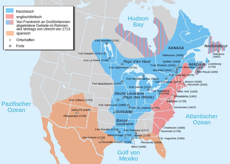 Karte Nordamerikas.Kinderzeitmaschine ǀ Wann Und Wo Siedelten Europäer Sich In